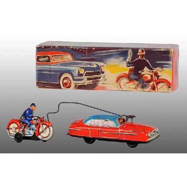 8: Tin Car & Motorcycle Friction Toy.