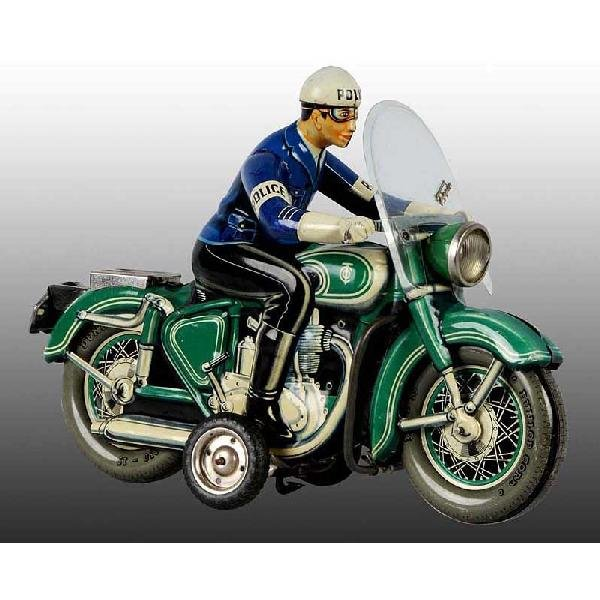 13: Tin Tippco Police Motorcycle Friction Toy.