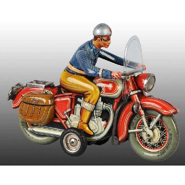 14: Tin Tippco Motorcycle Friction Toy.