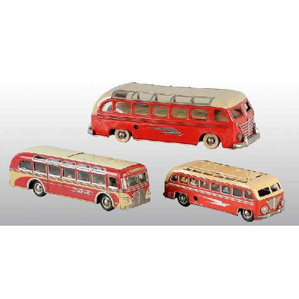 15: Lot of 3: Tin Bus Wind-Up Toys.