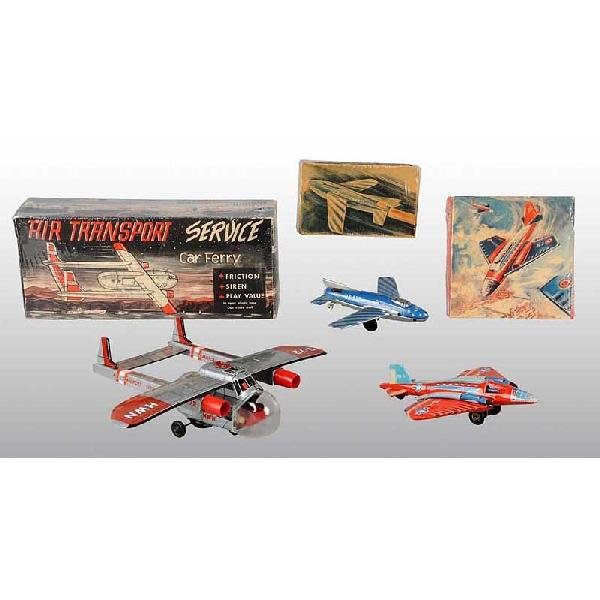 17: Lot of 3: Tin Airplane Friction Toys.