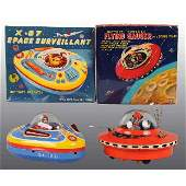 148 Lot of 2 Tin Flying Saucer BatteryOperated Toys