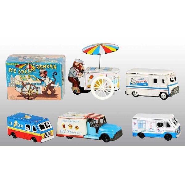429: Lot of 5: Tin Ice Cream Vehicle Toys.