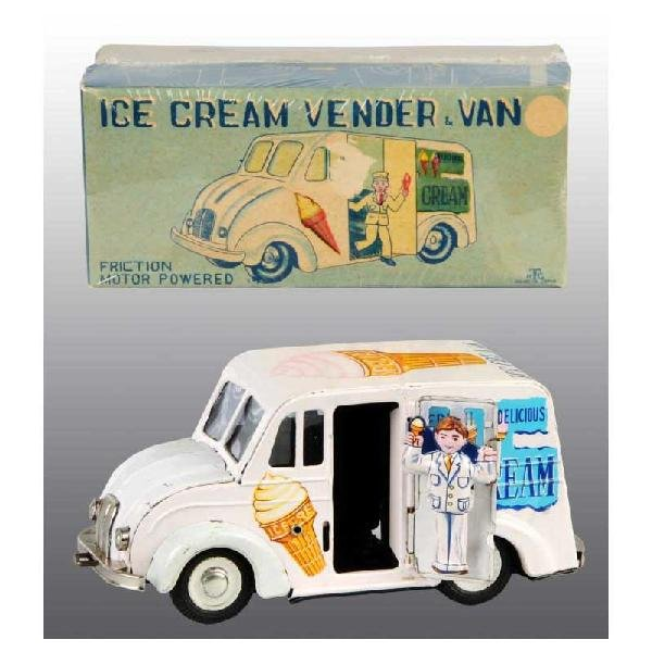 447: Tin Ice Cream Vendor Van Friction Toy.