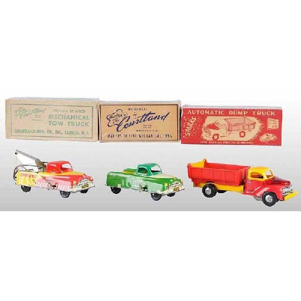 710: Lot of 3: Tin Courtland Vehicle Wind-Up Toys.