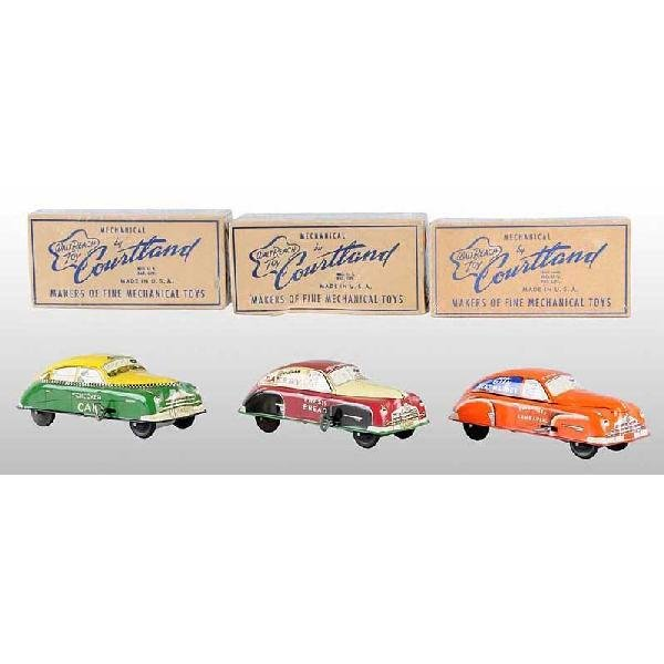 711: Lot of 3: Tin Courtland Vehicle Wind-Up Toys.