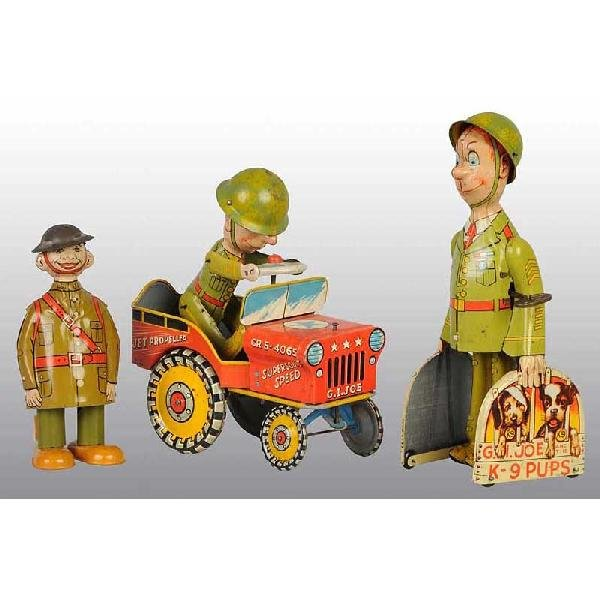 719: Lot of 3: Tin Soldier Wind-Up Toys.
