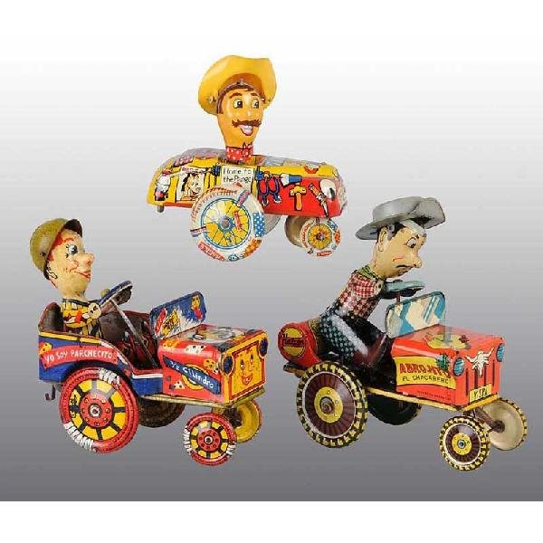 720: Lot of 3: Tin Whoopee Car Wind-Up Toys.