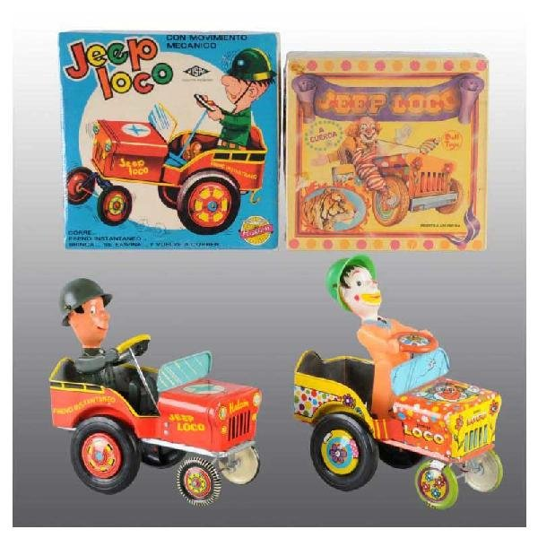 721: Lot of 2: Tin Jeep Whoopee Car Wind-Up Toys.