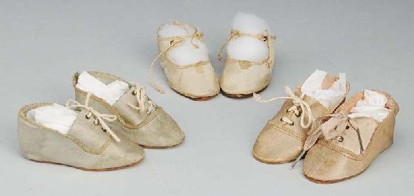 1: Lot of 3: Pairs of Antique German Doll Shoes.