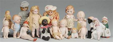 335: Lot of 16 Small All-Bisque Dolls & Figures.