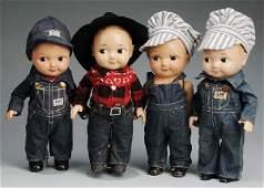 473 Lot of 4 Vintage Buddy Lee Advertising Dolls