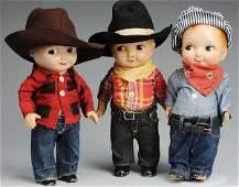 475 Lot of 3 Vintage Buddy Lee Advertising Dolls