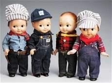 476 Lot of 4 Vintage Buddy Lee Advertising Dolls