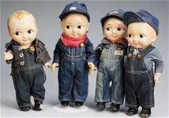 477 Lot of 4 Vintage Buddy Lee Advertising Dolls