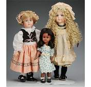 517: Lot of 3: Artist Reproduction Bisque Dolls.