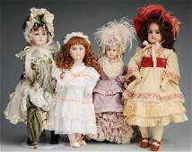 524: Lot of 4: Artist Reproduction Bisque Dolls.