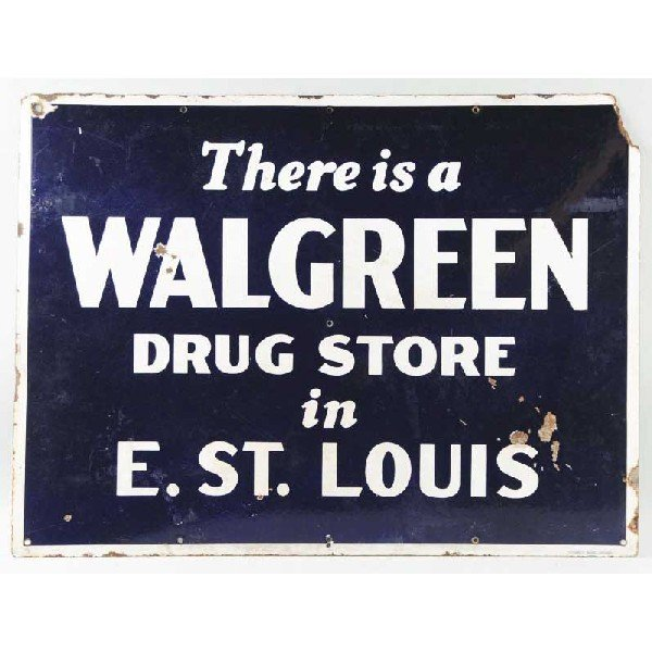 10: Porcelain Blue Walgreen Advertising Sign.