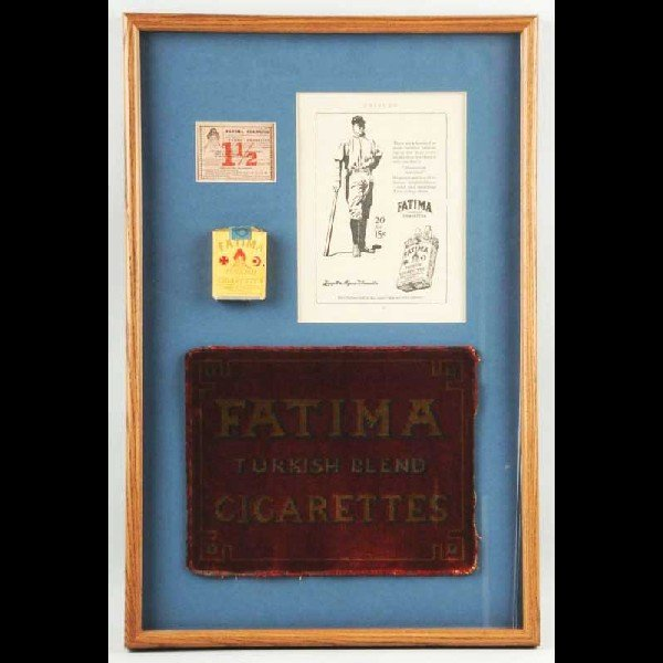 23: Framed Shadow Box Lot of Fatima Advertising.