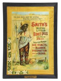 FRAMED SMITH'S KIDNEY PILLS LITHOGRAPHED TIN AD.