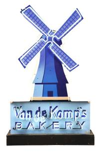 DIE CUT PORCELAIN VAN DE KAMP'S BAKERY NEON SIGN W/