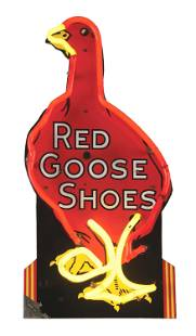RED GOOSE SHOES SINGLE-SIDED PORCELAIN NEON SIGN.