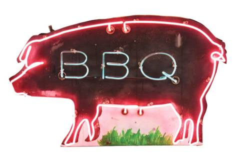 UNIQUE & OUTSTANDING DIE CUT TIN BBQ NEON SIGN W/ PIG
