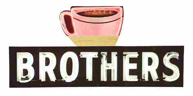 BROTHERS PORCELAIN NEON SIGN W/ ADDED PAINTED TIN