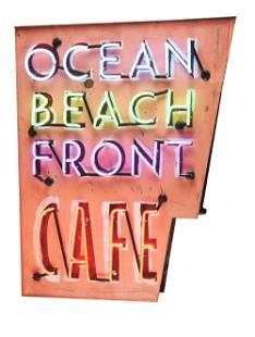OCEAN BEACHFRONT CAFE PAINTED TIN NEON SIGN W/ FOUR