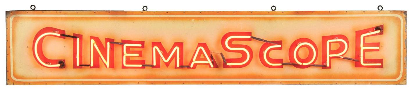 CINEMA SCOPE HAND PAINTED TIN NEON SIGN MOUNTED ON