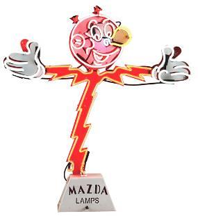 "MAZDA LAMPS ""REDDY KILOWATT"" NEON SIGN."