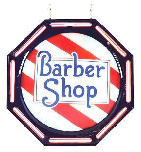 BARBER SHOP NEON SIGN WITH BRACKET.