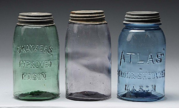 4: Lot of 3: Colored Canning Jars.