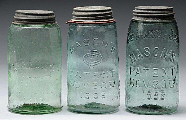 6: Lot of 3: Mason's Canning Jars.