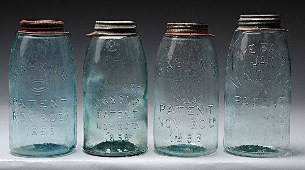 10: Lot of 4: Mason's Canning Jars.