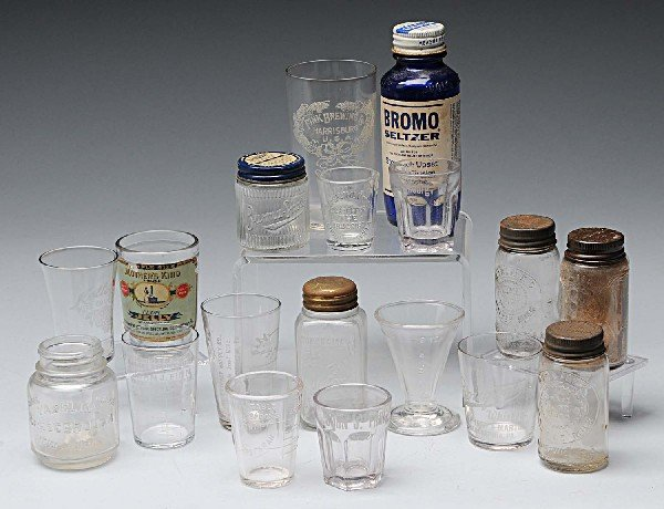 20: Lot of 18: Medical & Whiskey Related Glasses.