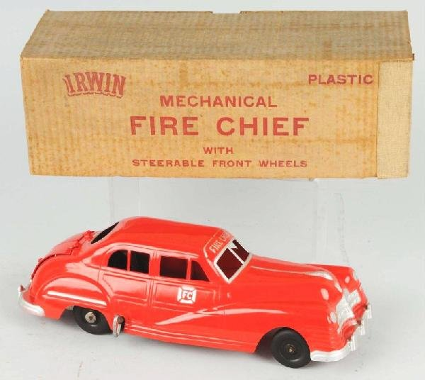 528: Plastic Irwin Fire Chief Wind-Up Toy.