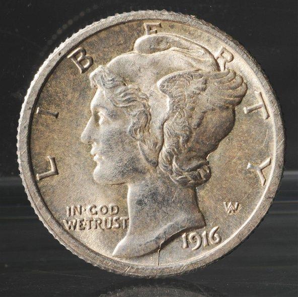 131: 1916-D Mercury Dime.