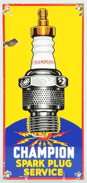 3: Porcelain Champion Spark Plug Sign.