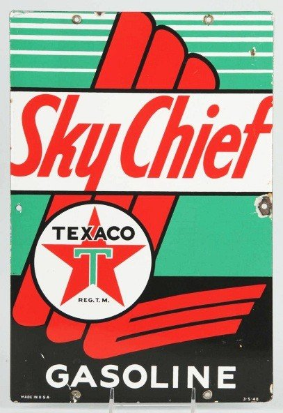 5: Porcelain Texaco Sky Chief Sign.