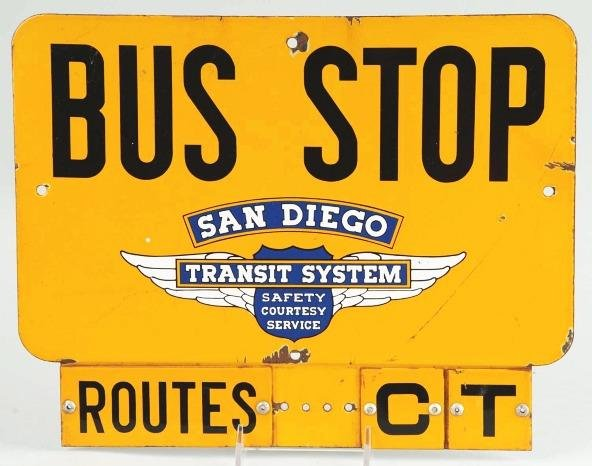7: Tin San Diego Bus Stop Transit Sign.