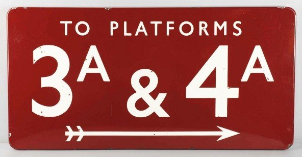 8: Porcelain Platforms 3A & 4A Sign.
