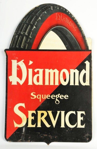 9: Tin Diamond Squeegee Service Tires Sign.