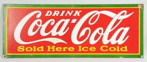 14: Porcelain Coca-Cola Sold Here Ice Cold Sign.