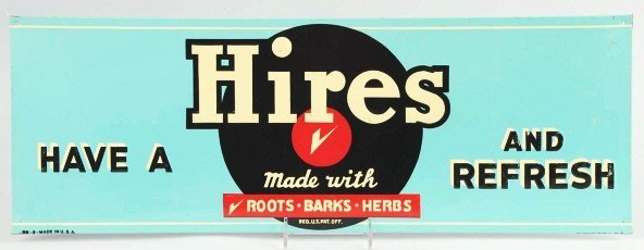 24: Tin Blue Hires Root Beer Sign.