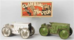 221: Lot of 2: Tin Marx Climbing Tractor Wind-Up Toys.
