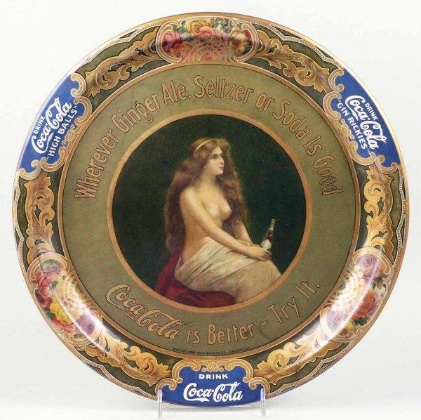 8: 1908 Tin Coca-Cola Topless Girl Serving Tray.