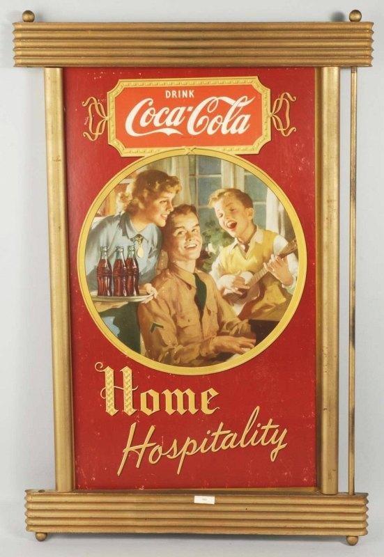 92: Cardboard Coca-Cola Hospitality Sign.