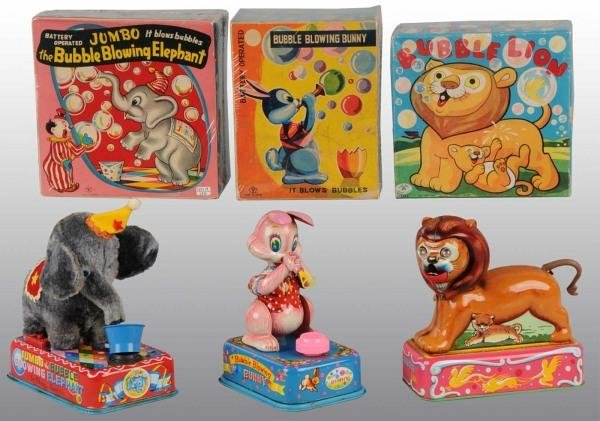 1: Lot of 3: Tin Litho Animal Bat-Op Toys in O/B