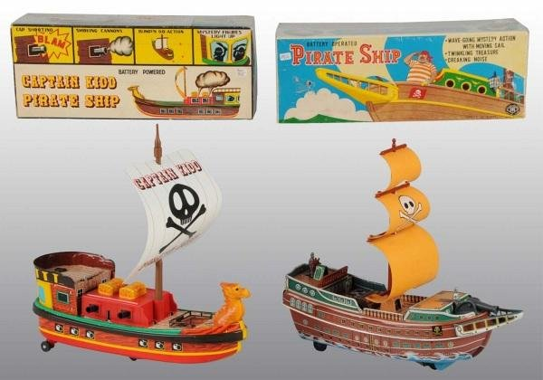 4: Lot of 2: Tin Litho Pirate Ship Bat-Op Toys in O/B